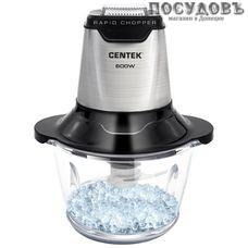 Centek CT-1392 измельчитель 600 Вт, чаша стеклянная 1200 мл, две пары ножей, цвет серебристый