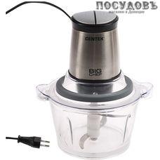 Centek CT-1394 измельчитель 600 Вт, чаша стеклянная 1500 мл, одна пара ножей, цвет серебристый