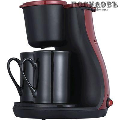 Aurora AU412 кофеварка капельная, 450 Вт, 300 мл, цвет черный с красным