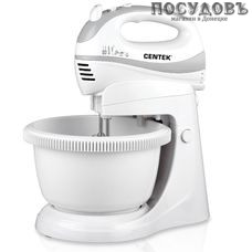 Centek CT-1106 миксер с вращающейся чашей 3,5 л, 320 Вт, 5 скоростей, цвет белый с серым