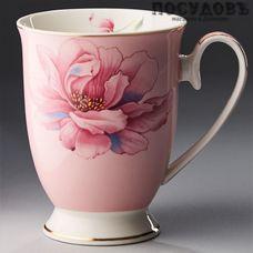"""Beatrix """"Бриджит"""" МЛ017L1 кружка подарочная, розовая с рисунком, 350 мл, фарфор, Китай, в подарочной упаковке 1 шт"""