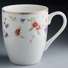 """Beatrix """"Флориана"""" МН013L1 кружка подарочная, цвет белая с рисунком, 350 мл, фарфор, Китай, в подарочной упаковке 1 шт"""