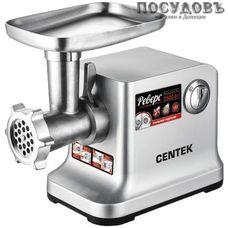 Centek CT-1615 мясорубка электрическая с насадками 2500 Вт 2 скорости, реверс есть, 2,4 кг/мин, корпус металл, цвет стальной