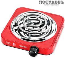 Centek CT-1508 плита электрическая, 1-конфорочная, 1000 Вт, эмалированное покрытие, цвет красный