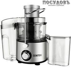Centek CT-1211 cоковыжималка электрическая, 650 Вт, горловина 65 мм, стакан 500 мл, под мякоть 1500 мл