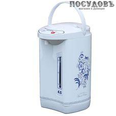 WillMark Гжель WAP-453CGZ термопот 4,5 л, 800 Вт, корпус: пластик, цвет белый с рисунком