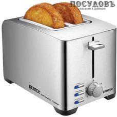 Centek СТ-1428 тостер на 2 шт, 850 Вт, цвет металлик