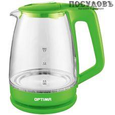 Optima EK-1718G электрочайник, 2200 Вт, 1700 мл, стекло термостойкое, внутренняя подсветка, цвет зеленый