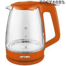 Optima EK-1718G электрочайник, 2200 Вт, 1700 мл, стекло термостойкое, внутренняя подсветка, цвет оранжевый