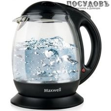 Maxwell MW-1023BK электрочайник, 2200 Вт, 1700 мл, стекло термостойкое, цвет черный