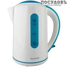 Maxwell MW-1028 электрочайник, 2200 Вт, 1700 мл, пластик, цвет белый с голубым