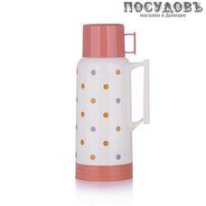 Miessa MER100D1 термос с крышкой-стаканом, колба стеклянная 1000 мл, цвет белый с розовым
