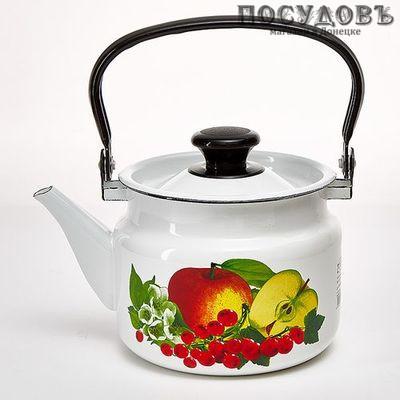 КМК 42704-102/6 стальной эмалированный чайник 2,0 л, цвет: белый с рисунком Вкус лета