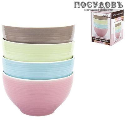 Коралл Классика RX-N17009 салатники в наборе, керамика, цвет 4 цвета, 700 мл, Китай, в упаковке 4 шт.