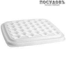IDEA М1205 квадратная форма для 35 пельменей, 255×30×28 мм, полистирол, белый цвет, Россия, в упаковке 1 шт.