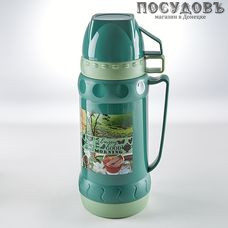 Alpenkok AK-10032S Зеленый чай термос со стелянной колбой, колба стеклянная 1000 мл, корпус пластик зеленый