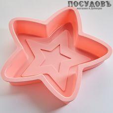 Alpenkok Звезда АК-6197S розовый форма для выпечки кекса, силикон, 260×255×80 мм, Китай, без упаковки