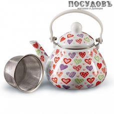 Metalloni EM-131X1/61 Сердца чайник, 1,3 л, сталь эмалированная, цвет: белый с рисунком