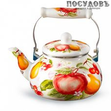 Metalloni EM-251X1/37 Фруктовый сад чайник, 2,5 л, сталь эмалированная, цвет: белый с рисунком, 1 шт.