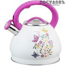 Alpenkok АК-510 чайник со свистком, 3 л, сталь нержавеющая, цвет: белый с рисунком, 1 шт.