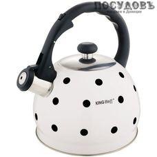 KING Hoff KH-1050 чайник со свистком, 2 л, сталь нержавеющая, цвет: белый с рисунком