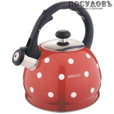 KING Hoff KH-1049 чайник со свистком, 2 л, сталь нержавеющая, цвет: красный, 1 шт.