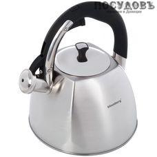 Klausberg KB-7015 чайник со свистком, 3 л, сталь нержавеющая, цвет: сатин, 1 шт.
