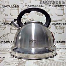 LARA LR00-59 чайник со свистком объемом 5,0 л, дно Ø240 мм, сталь нержавеющая, цвет: сатин, пластиковая ручка, в упаковке 1 шт