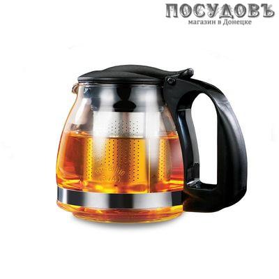 LARA LR06-19 Black чайник заварочный с фильтром, стекло термостойкое, 700 мл черный