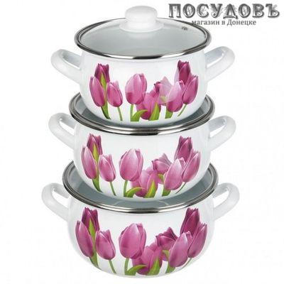 Hascevher Алые тюльпаны SMY-21/21/1974 набор посуды, 3 кастрюли с крышками, сталь эмалированная, 6 пр.