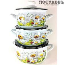 Hascevher Ромашка белая 7088/7800 набор посуды, 3 кастрюли с крышками, сталь эмалированная, 6 пр.