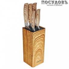 Alpenkok AK-2105 ножи в наборе (5 ножей; подставка), сталь нержавеющая, 6 пр.