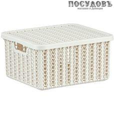 М-пластика Вязание М 2368 коробка с крышкой, полипропилен, 170×148×85 мм, 1,5 л, цвет белый ротанг