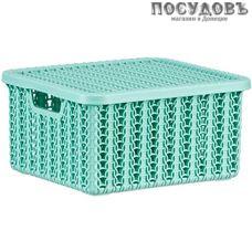 М-пластика Вязание М 2368 коробка с крышкой, полипропилен, 170×148×85 мм, 1,5 л, цвет фисташковый