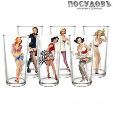 ДекоСтек Pin-up girls 148-Д (Pin-up girls), стакан высокий 280 мл, стекло, в упаковке 6 шт.
