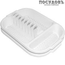 Милих 02062 сушилка для посуды с поддоном, 3 секции, 390×270 мм, полипропилен, цвет белый