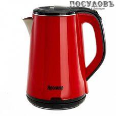 Яромир ЯР-1059 электрочайник, 1500 Вт, 1800 мл, двойной нержавейка/пластик, цвет красный, Китай, гарантия 1 год