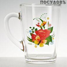 ОСЗ 1334/125 кружка 300 мл, стекло, прозрачная с рисунком Мальва, Россия