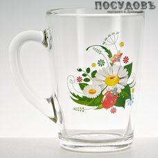 ОСЗ 1334/126 кружка 300 мл, стекло, прозрачная с рисунком Ромашка, Россия