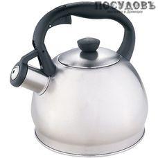 Webber BE-0578 чайник со свистком, 2 л, сталь нержавеющая, цвет: сатин, Россия, в упаковке