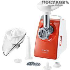 Bosch MFW3630l мясорубка электрическая с насадками 1600 Вт 1 скорость, реверс есть, 1.9 кг/мин, корпус пластик, цвет белый с оранжевым
