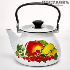 КМК 42104-122/6 Вкус лета, чайник с крышкой, 3 л, сталь эмалированная, белый с рисунком, Россия, без упаковки