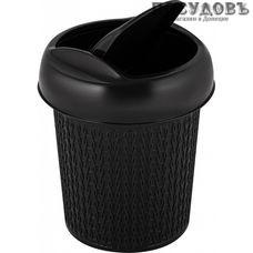 Пластик Репаблик Ajur SV4066ВНГ контейнер для мусора с крышкой, Ø130×h155 мм, полипропилен, 1,0 л, венге