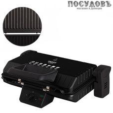 Delta Lux DL-050B гриль электрический 340×220 мм, 2000 Вт, 1 вид сменных пластин, 1 емкость для сбора жира, цвет черный