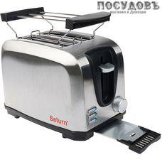Saturn EC7023 тостер на 2 шт, 750 Вт, цвет металлик