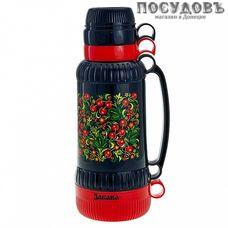 Забава РK-1808 Вишня термос с крышкой-стаканом, колба сталь нержавеющая 1800 мл, цвет черный с красным