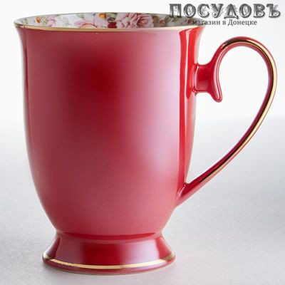 Beatrix МЛ043L1 кружка подарочная красная с золотой обводкой, фарфор, 350 мл