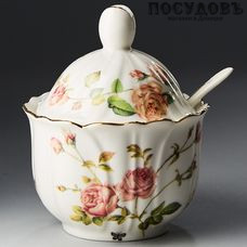 Beatrix Розанна МН012E сахарница с крышкой и ложкой, фарфор, Китай, в упаковке 3 пр.