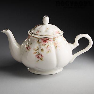 Beatrix МН041R чайник заварочный, фарфор, 860 мл белый с рисунком