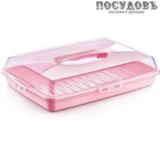 Dunya 30307 тортница с крышкой, полистирол, цвет голубой, фиолет, крем, розовый, 435×295×h98 мм